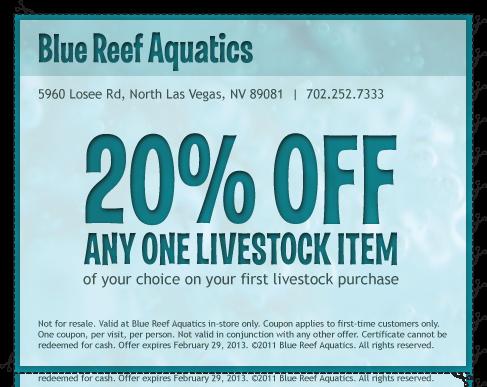 Coupon blue reef aquatics 702 252 7333 tropical fish for Discount aquarium fish and reef